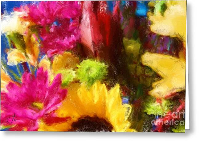 Press Pastels Greeting Cards - Party Flowers Greeting Card by Julie Knapp