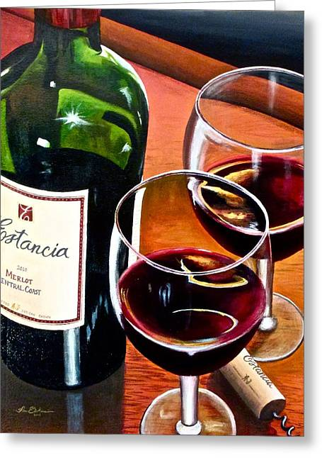 Red Wine Prints Greeting Cards - Party of Two Greeting Card by Tim Eickmeier