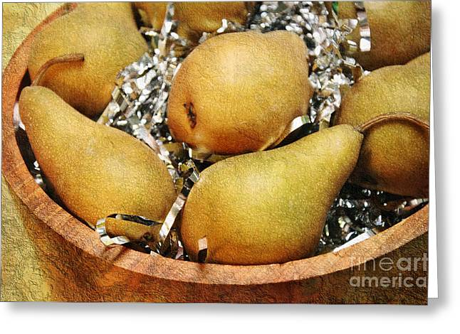Wooden Bowls Greeting Cards - Party Pears Greeting Card by Andee Design