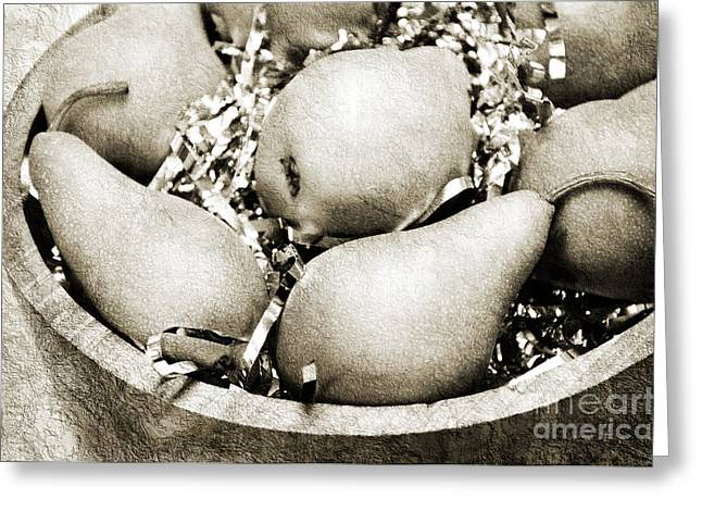 Pear Art Greeting Cards - Party Pears BW Greeting Card by Andee Design