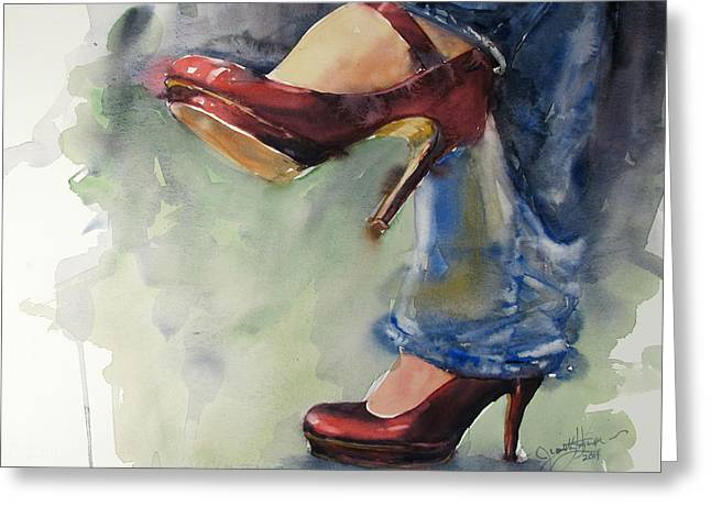 Red Shoe Greeting Cards - Party Shoes Greeting Card by Judith Levins