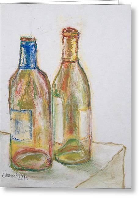 Wine-bottle Pastels Greeting Cards - Party Time Greeting Card by Donna Kerness