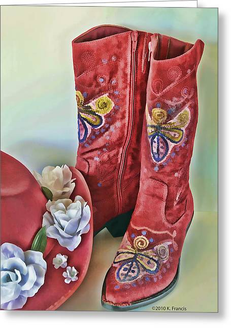 Fancy Boots Greeting Cards - Party Time Greeting Card by Kenny Francis