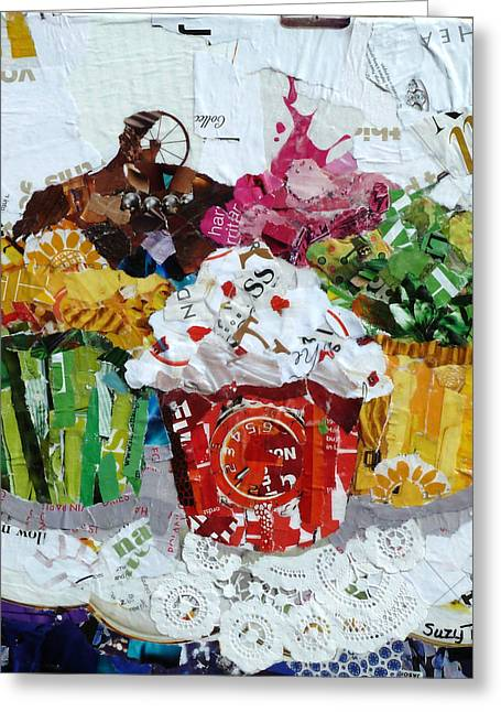 Torn Paintings Greeting Cards - Party Time Greeting Card by Suzy Pal Powell