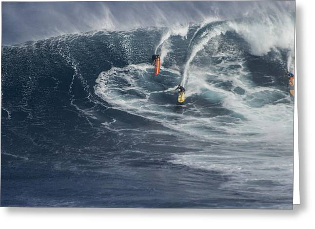Surfing Art Greeting Cards - Party Wave at Jaws  Greeting Card by Brad Scott