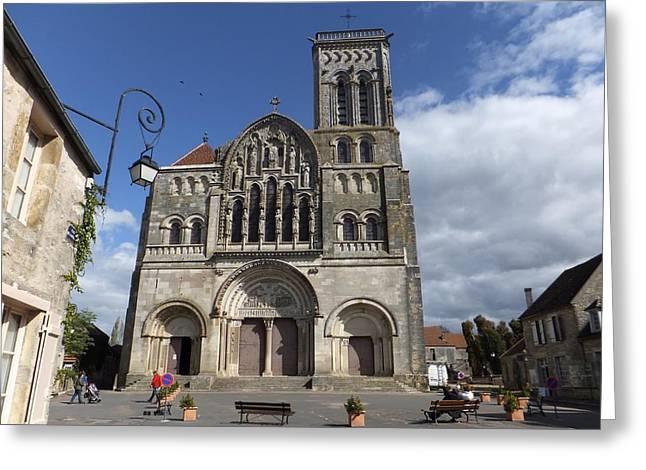 parvis de la Basilique Sainte-Marie-Madeleine de Vezelay Greeting Card by Marc Philippe Joly