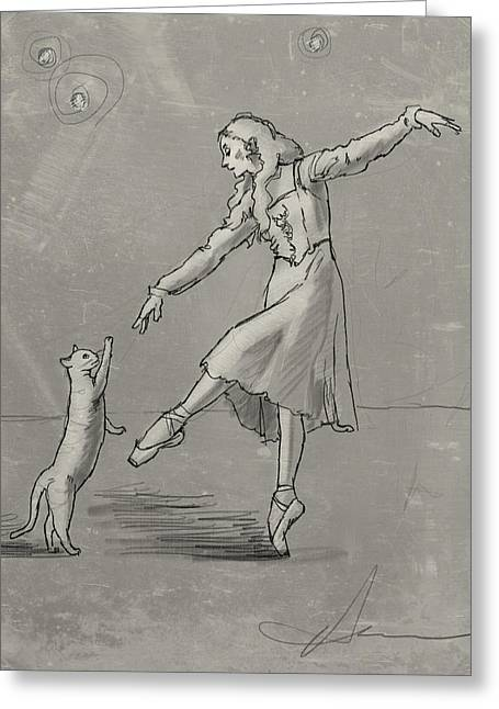 Pa Drawings Greeting Cards - Pas de Deux from the Tiger of Tangiers Greeting Card by H James Hoff
