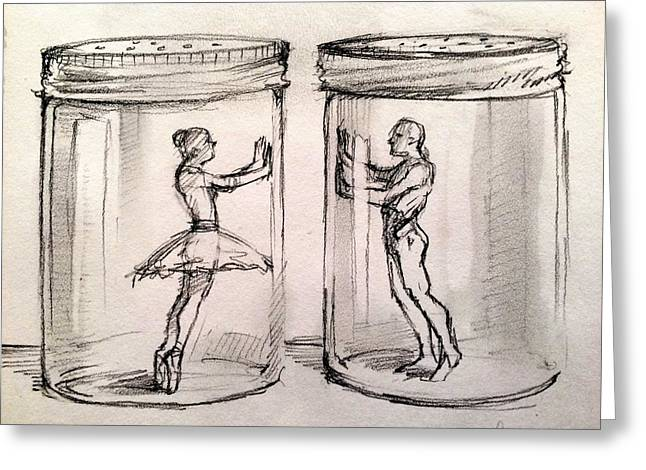 Broken Heart Drawings Greeting Cards - Pas de Deux Greeting Card by H James Hoff