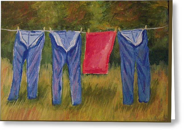 Pa's Trousers Greeting Card by Belinda Lawson