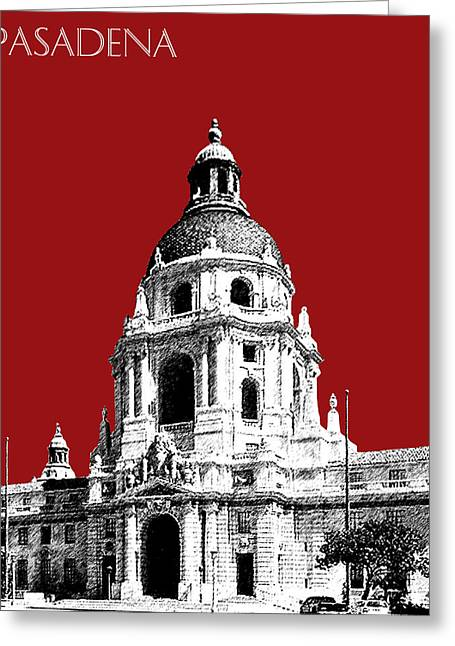 Pasadena Skyline - Dark Red Greeting Card by DB Artist