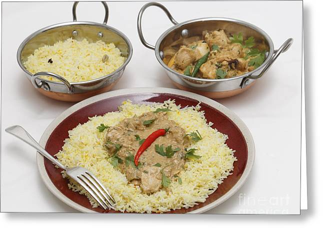 Basmati Greeting Cards - Pasanda chicken curry with serving kadai bowls Greeting Card by Paul Cowan