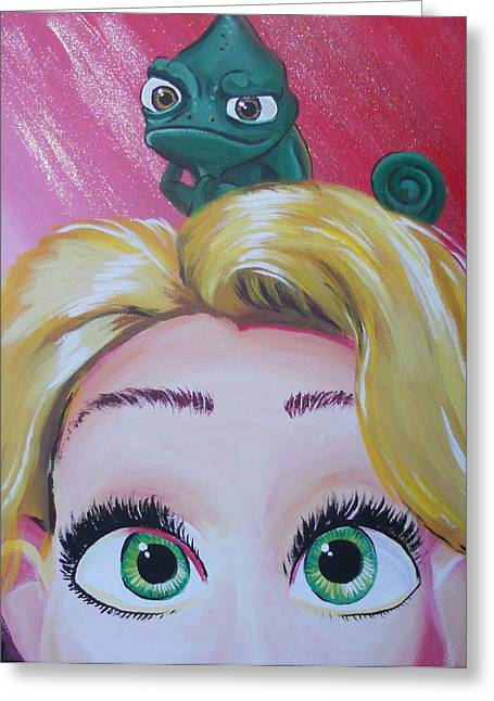Pan Pascal Greeting Cards - Pascal and Rapunzel Greeting Card by Lisa Leeman
