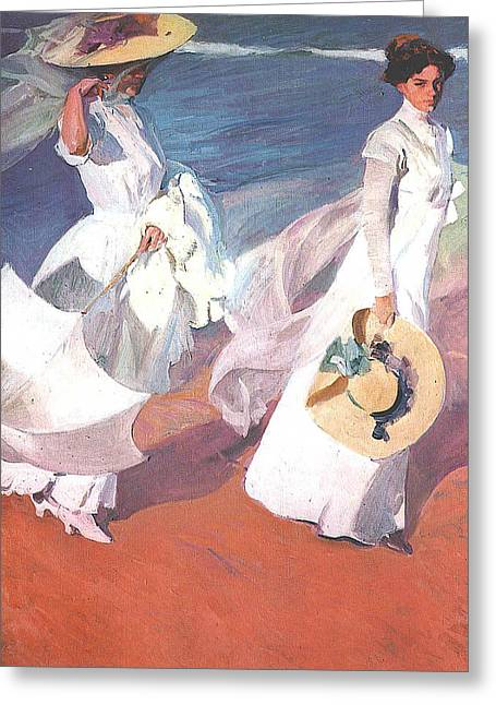 Woman In A Dress Greeting Cards - Paseo a orillas del mar Greeting Card by Joaquin Sorolla