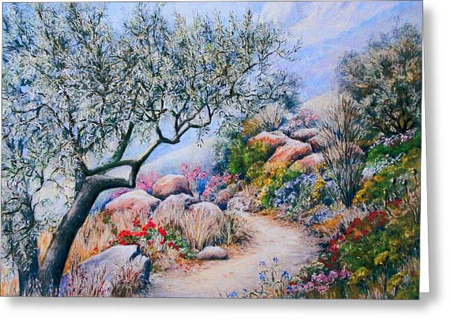 Olives Pastels Greeting Cards - Paseo de Flores Greeting Card by Rosemary Colyer