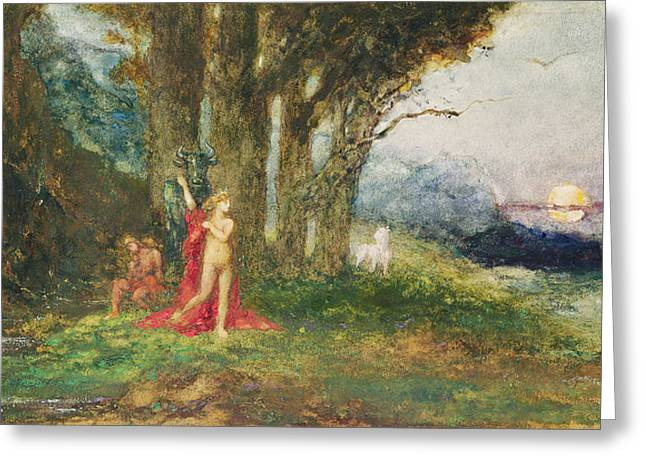 Nude Sunset Greeting Cards - Pasiphae And The Bull, C.1876-80 Wc & Gouache On Paper Greeting Card by Gustave Moreau