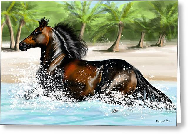 Paso Fino Stallion Greeting Cards - paso FIno in ocean Greeting Card by Michelle Hand