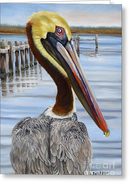 Wadingbird Greeting Cards - Pass Christian Pelican Greeting Card by Phyllis Beiser