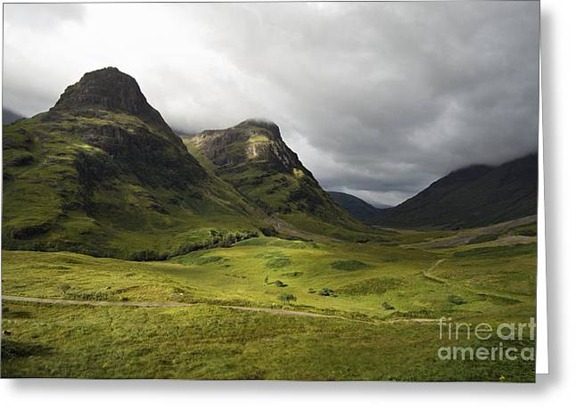 Glen Coe Greeting Cards - Pass of Glencoe - D002455 Greeting Card by Daniel Dempster