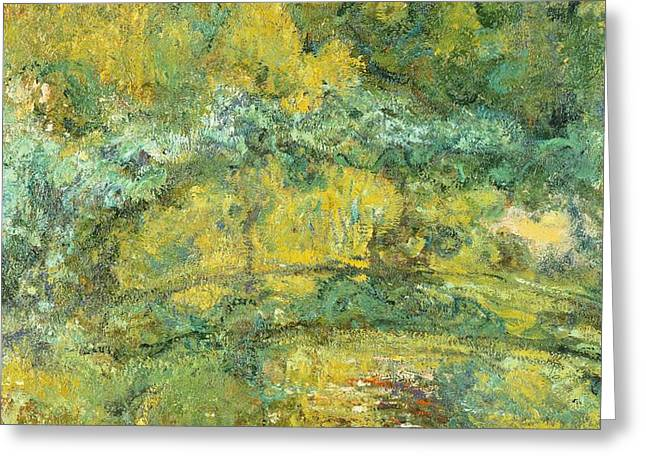 France 1874-1886 Greeting Cards - Passage on waterlily pond Greeting Card by Claude Monet