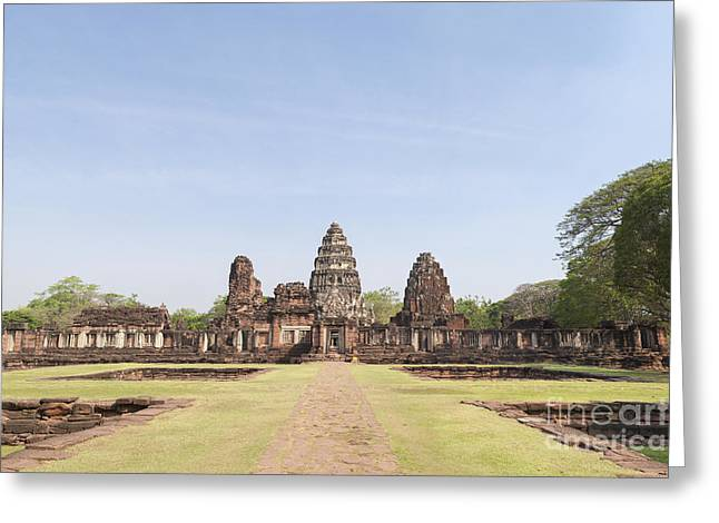 Phimai Greeting Cards - Passage way of Prasat Hin Phimai temple in Thailand Greeting Card by Roberto Morgenthaler