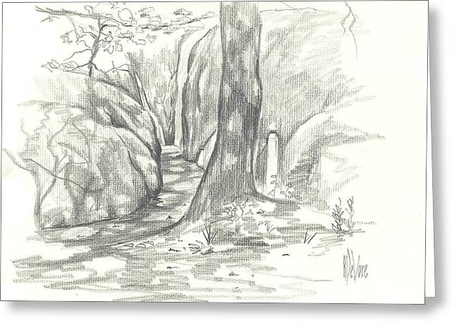 Summer Scene Drawings Greeting Cards - Passageway at Elephant Rocks Greeting Card by Kip DeVore