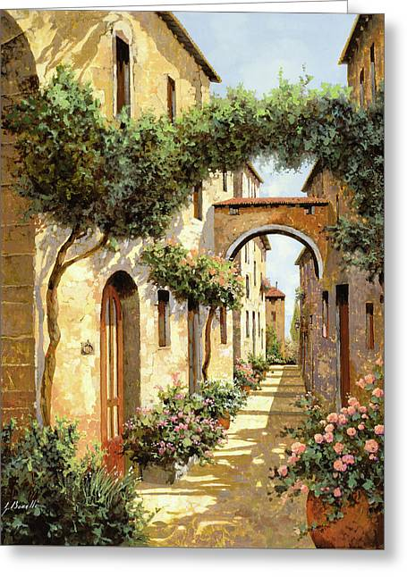 Street Scenes Paintings Greeting Cards - Passando Sotto Larco Greeting Card by Guido Borelli