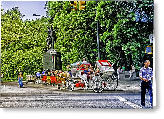 Hansom Greeting Cards - Passenger Cars Only - Central Park Greeting Card by Madeline Ellis