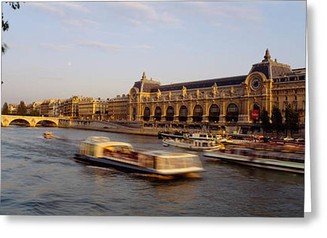 Passenger Craft In A River, Seine Greeting Card by Panoramic Images