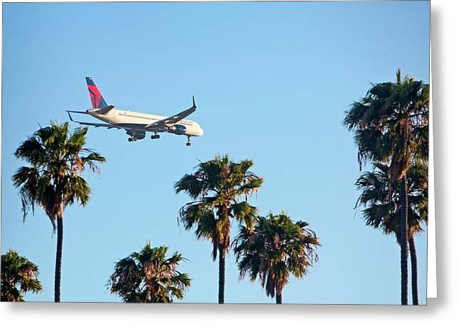 Passenger Jet Airliner Landing Greeting Card by Jim West