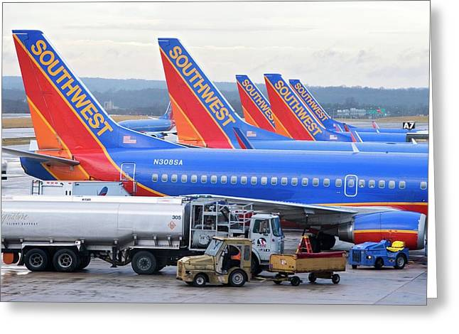 Passenger Jet Airliners At Airport Greeting Card by Jim West