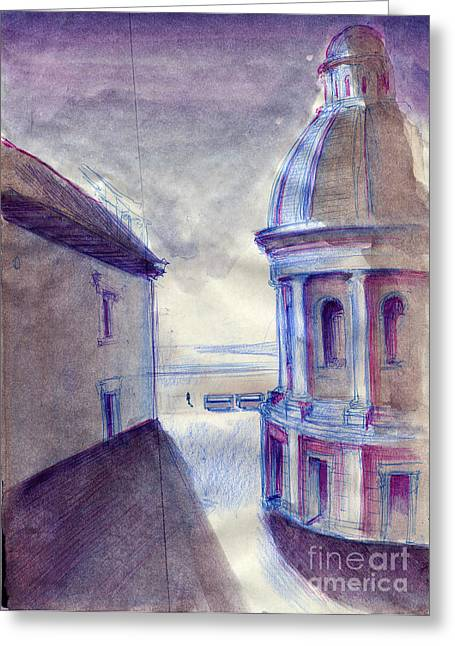 Chirico Greeting Cards - passenger of the last tourist train stop ...after de Chirico Greeting Card by Line Arion