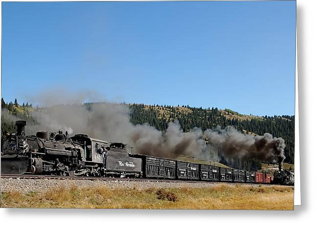 Narrow Gauge Steam Train Greeting Cards - Passenger Train Has the Highball Greeting Card by Ken Smith