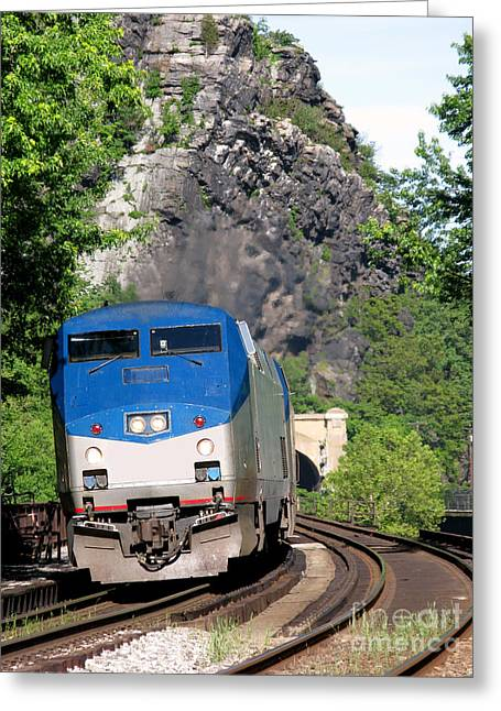 Railway Locomotive Greeting Cards - Passenger Train Locomotive Greeting Card by Olivier Le Queinec