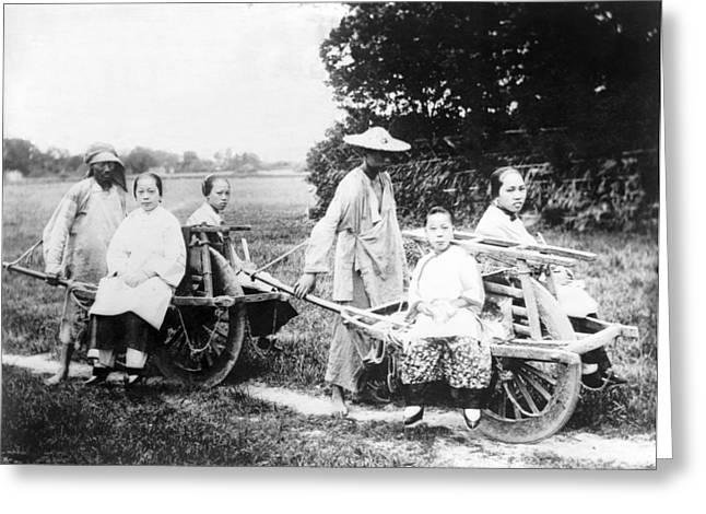 Manual Greeting Cards - Passenger wheelbarrows, China Greeting Card by Science Photo Library
