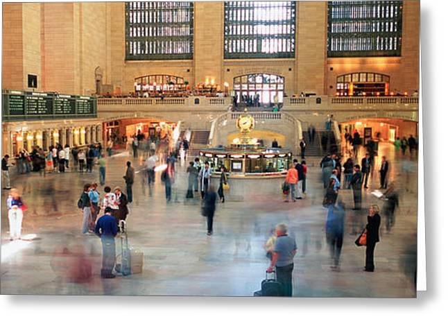 Casual Clothing Greeting Cards - Passengers At A Railroad Station, Grand Greeting Card by Panoramic Images