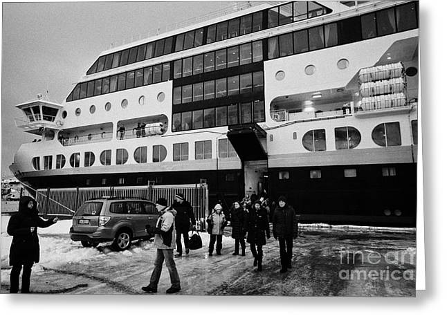 Honningsvag Greeting Cards - Passengers Disembarking Ms Midnatsol Hurtigruten Cruise Ship Berthed In Honningsvag Harbour Norway E Greeting Card by Joe Fox