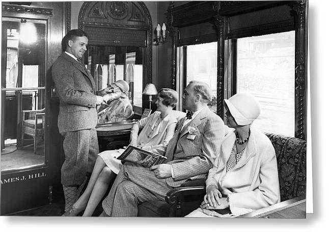 Passengers On A Train Greeting Card by Underwood Archives