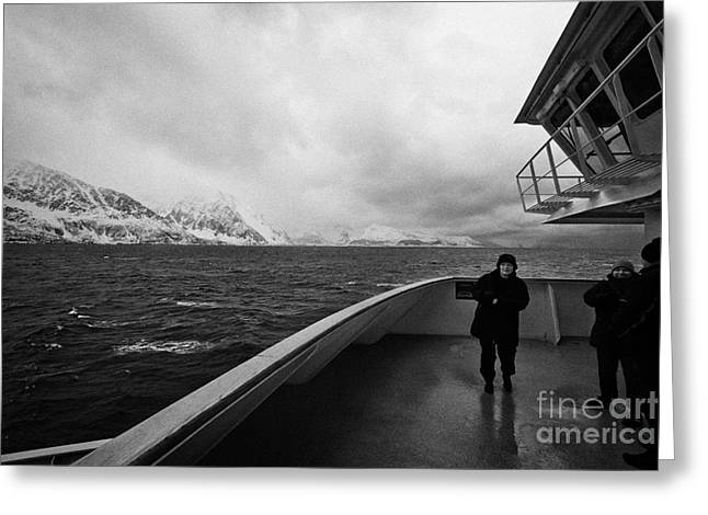 Scandanavian Greeting Cards - Passengers On Ship Sailing Along The Coast Of The Norwegian Sea Winter Norway Europe Greeting Card by Joe Fox
