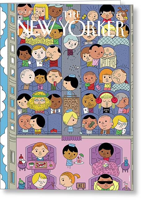 Passengers Travel On A Plane Greeting Card by Ivan Brunetti