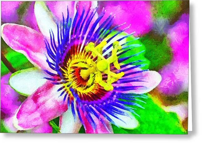 Passiflora Edulis Otherwise Known As Passion Flower Greeting Card by Digital Photographic Arts