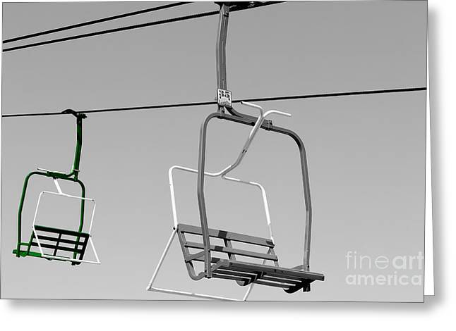 Chairlift Greeting Cards - Passing By Greeting Card by Colleen Kammerer