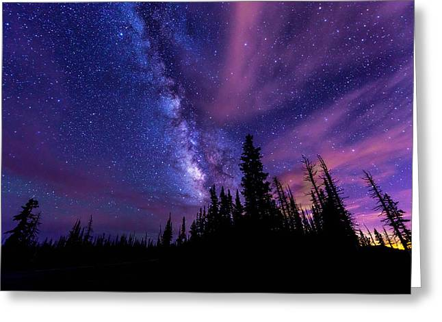 Milky Way Photographs Greeting Cards - Passing Hours Greeting Card by Chad Dutson