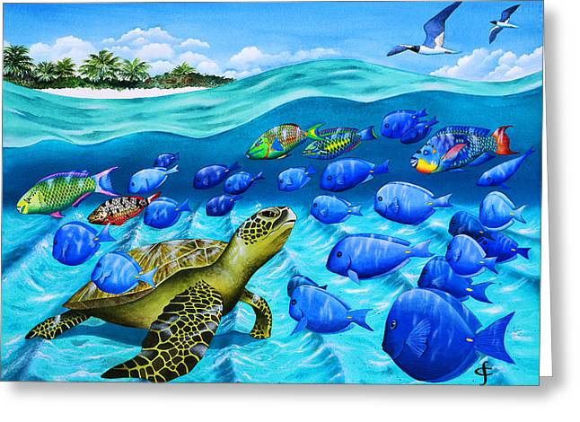 Sea Animals Greeting Cards - Passing Parade Greeting Card by Carolyn Steele