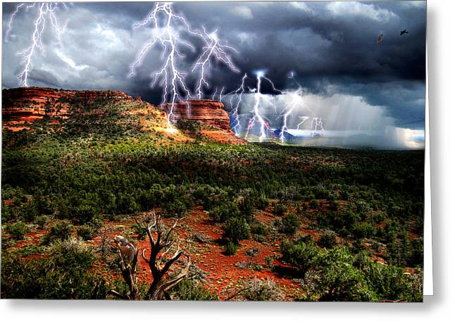 Luminist Greeting Cards - Passing Storm Near Sedona Arizona Greeting Card by Ric Soulen