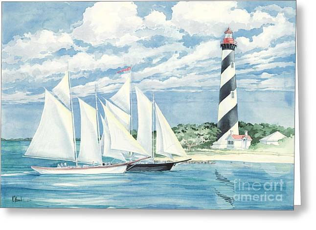 Blue Sailboats Greeting Cards - Passing the Light Greeting Card by Paul Brent