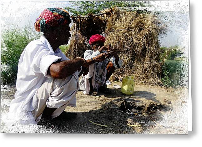Taking The Field Greeting Cards - Passing The Pipe Chillum India Rajasthan 6 Greeting Card by Sue Jacobi