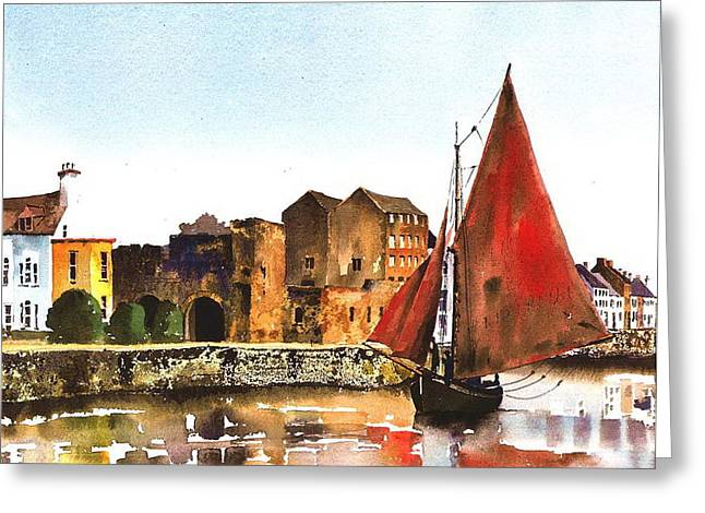 Val Byrne Greeting Cards - Passing the Spanish Arch Galway Greeting Card by Val Byrne