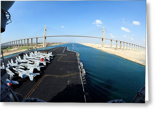 Carrier Greeting Cards - Passing through the Suez Canal Greeting Card by Mountain Dreams