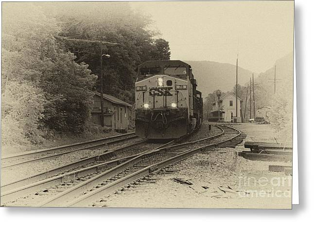 Train Depot Greeting Cards - Passing Train Greeting Card by Thomas R Fletcher