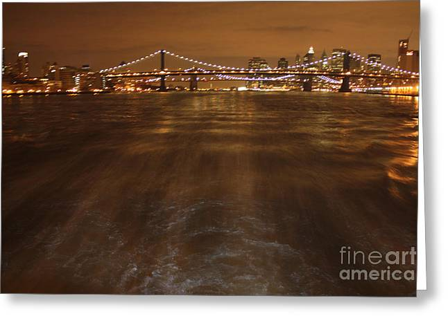 Print On Canvas Greeting Cards - Passing Under the Brooklyn and 52nd St Bridges Greeting Card by John Telfer